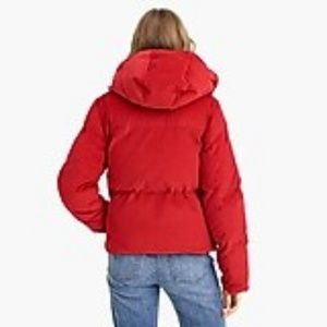 J. Crew Jackets & Coats - J.Crew Red Corduroy Puffer Zip Up Coat XL